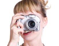 digitalt kvinnabarn för kamera arkivbild