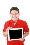 digitalt lyckligt för barn hans nya tablet Fotografering för Bildbyråer