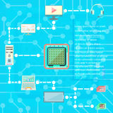 Digitaltechniken und Social Media-Netzikonen vector Elemente Stockbilder