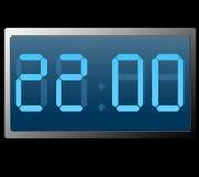 Digitaluhr, die zweiundzwanzig hundert Stunden zeigt lizenzfreie abbildung