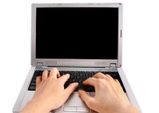 Digitando sulla tastiera Fotografia Stock Libera da Diritti