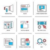 Digitas e linha social ícones do mercado dos meios ajustados Fotografia de Stock Royalty Free