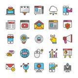 Digitas e os ícones do vetor do mercado do Internet ajustaram 1 ilustração stock