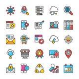 Digitas e os ícones do vetor do mercado do Internet ajustaram 3 ilustração do vetor
