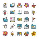Digitas e os ícones do vetor do mercado do Internet ajustaram 8 ilustração do vetor
