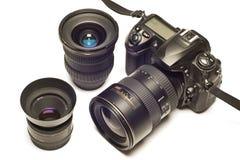 Digitas SLR com as lentes revisadas Fotos de Stock
