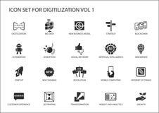 Digitilization ikony dla tematów lubią dużych dane, blockchain, automatyzacja, klienta doświadczenie, przenośni komputery, intern ilustracji