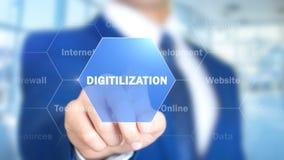 Digitilization, Mens die aan Holografische Interface, het Visuele Scherm werken stock afbeelding
