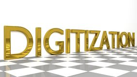 Digitization sign in gold and glossy letters