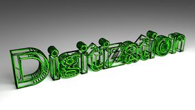 Digitization sign in green and glossy letters