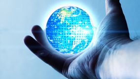 Digitized world that orbits on the palm of a man`s hand. Illustration royalty free stock photography