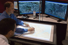 Digitizing maps at the ESRI user conference Royalty Free Stock Photos