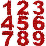 Digits. A lot of hearts of velvet in the form of digits. with clipping path Royalty Free Stock Photography