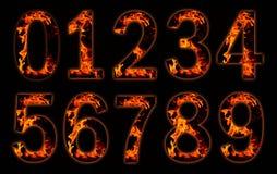 Digits auf Feuer. stock abbildung