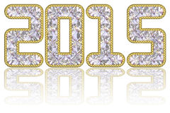 2015 digits composed of gems in golden rim. On glossy white background. High resolution 3D image Stock Images