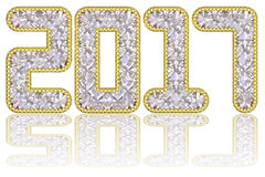 2017 digits composed of gems in golden rim on glossy white background Stock Photos