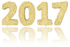 2017 digits composed of golden and silver stripes on glossy white background Royalty Free Stock Photos