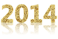 2014 digits composed of small. Golden stars on glossy white background. High resolution 3D image stock illustration