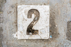 The digits with concrete on the sidewalk 2 Royalty Free Stock Photos
