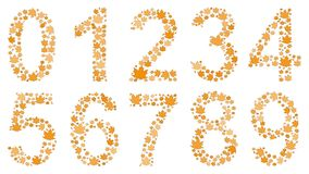 Digits consisting of autumn leaves. Set of digits from 0 to 9, consisting of yellow autumn leaves on white background Stock Photo