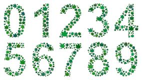 Digits consisting of leaves. Set of digits from 0 to 9, consisting of green leaves on white background Stock Image