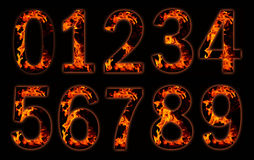 Digits on fire. Digits in fire isolated on black Stock Photography