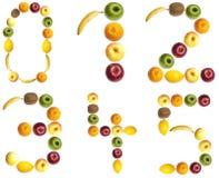 Digits gebildet von den Früchten stockfotografie