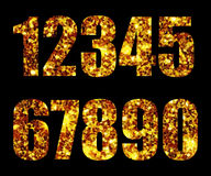 Digits gold on background black. Digits gold on black background Stock Images