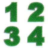 Digits 1, 2, 3, 4 of Green Lawn. Stock Photo