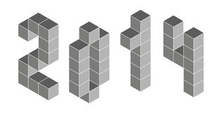 2014 digits from isometric cubes. Pseudo three dimensional Royalty Free Stock Photography
