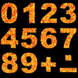 Digits made of flowers. Digits made of red and yellow flowers. Vector illustration Royalty Free Stock Photo