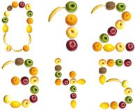 Digits made of fruits. 0 to 5 digits made of fruits Stock Photography