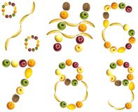 Digits made of fruits. 6 to 9 and signs  made of fruits Royalty Free Stock Photos