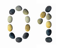 Digits 0, 1 made of pebbles. Digits 0, 1 made of pebbles on a white background Royalty Free Stock Images