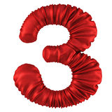 Digits. Made of red fabric. Isolated on white. 3D illustration stock illustration