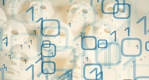 Digits and masks cyber security big data. Cyber security 01 binary code abstract background Stock Photo