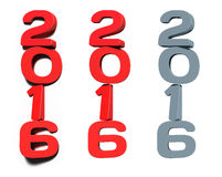 Digits 2016, new year designs template. Digits 2016 three-dimensional rendering, for new year cards and calendars stock illustration