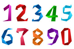Digits and numbers in origami style Royalty Free Stock Photos