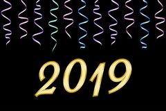 Digits 2019 and Ribbons of serpentine. Happy new year 2019 greeting card Stock Photography