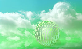 Digits on a sphere. Symbolizing digital info in a green environment Royalty Free Stock Image