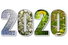 2020 new year. 2020 digits title with seasons background over white Royalty Free Stock Photography