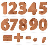 Digits in wood grain textured style. Set of digits and punctuation signs in wood grain textured style Royalty Free Stock Images
