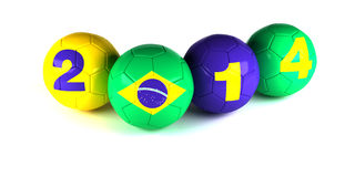 Digits of 2014 year and brazi flagl with soccer balls. On white Royalty Free Illustration