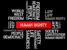DIGNIDAD HUMANA - la imagen con palabras se asoció a la COMUNIDAD DE VALORES, palabra, imagen, ejemplo del tema Foto de archivo libre de regalías