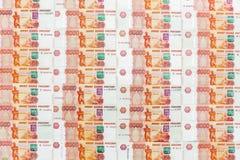 Dignidade das cédulas do dinheiro cinco mil rublos de fundo Foto de Stock