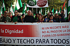 The dignity march. a protest 28- Unionist Cañamero Royalty Free Stock Photo