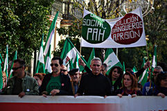 The dignity march. a protest 27- Unionist Cañamero Royalty Free Stock Images