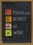 Dignity and respect at work. DRAW (dignity and respect at work) - workplace culture acronym, white chalk handwriting, colorful sticky notes on blackboard stock photo