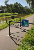 Digoin canal  and Voies Verte cycle way. Stock Photos