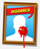 The disgrace frame. Frame with faceless man and splashed tomato. For propaganda and funny concepts. Replace the photo with your favorite one stock illustration